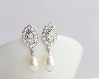 Bridal Earrings Small Wedding Earrings Swarovski Crystal Pearl Earrings Simple Vintage Style for Bridal Party Traditional Style MAE DROP