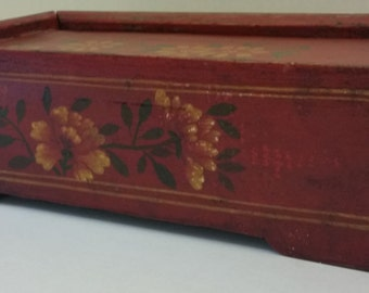 Antique Chinese Slide Top Box Hand Painted Floral Design