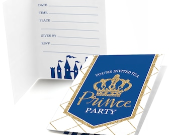 Royal Prince Charming Fill In Invitations - Navy and Gold Princess Party - Baby Shower or Birthday Fill In Invites - 8 Cards w/Envelopes