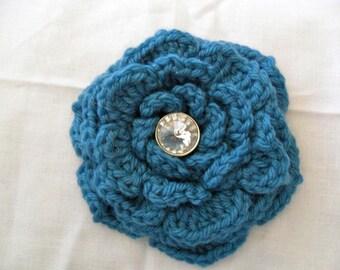 Teal Wool Flower Brooch - Blue Wool Flower Brooch - Teal Flower Brooch - Blue Flower Brooch - Rhinestone Flower Brooch