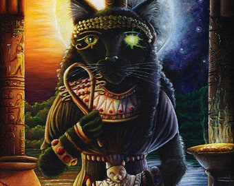 Egyptian Cat Goddess Bast 11x14 Fine Art Print