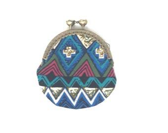 Blue Chevron Tribal Coin Purse | Coin Bag | Change Purse | Change Bag | Wallet | Small Bag