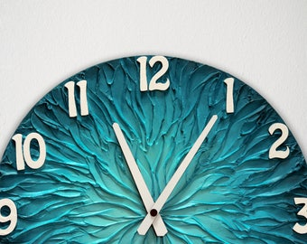 Large Turquoise BLUE WALL CLOCK 15.7 inch (40 cm) diameter Blue Home Decor Office  Wall Decor Man Cave House Warming Gift wedding gift