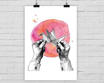 fine-art print poster origami crane watercolor hands folding vintage