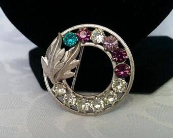 DCE Mother's Sterling Birthstone Brooch, Wreath Brooch, Sterling Silver