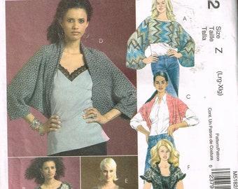 Size 16-22 Misses' Plus Size Shrug Sewing Pattern - Cocoon Shrug Pattern - Bolero Jacket Pattern - Cropped Top Pattern - McCalls M5182
