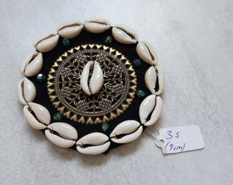 Large cowry shell, crystal & brass filigree amulet medallion for ATS or tribal fusion bellydance, DIY component, ca 9 cm, made to order