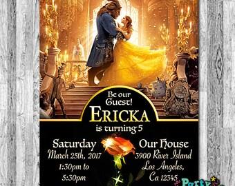 Beauty and the Beast Movie Invitation, 2017 Beauty and the Beast Birthday, Beauty and the Beast Invites, Princess Belle Invitation, Rose