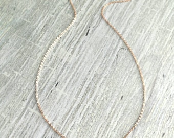 Rose Gold Horseshoe Necklace - thin delicate pink gold chain - small little shiny horse shoe slider pendant / charm - Good Luck Charm