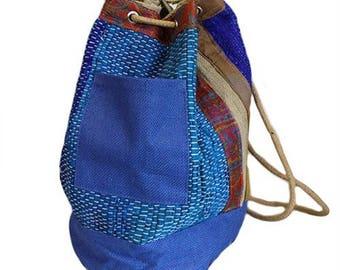 IDÉE cadeau: Népalais tissé Duffle Bag, besace, sac à dos, sac à dos -100 % coton - en 3 couleurs: rouge, bleu et vert