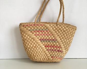 Stroh - Stroh Korb - Sommer Babyschale Beuteltasche - Strand Kinder Tasche - Korb - Korbtasche - Markt Kindertasche - Vintage Stroh Tasche - gewebt Stroh Tasche