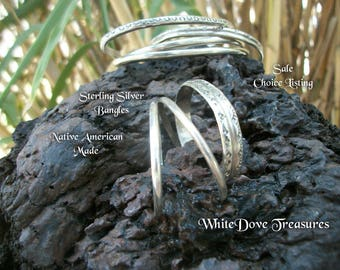 Native American Sterling Silver Bangle Bracelets ~ Small Large Baby Bangles ~ Unisex
