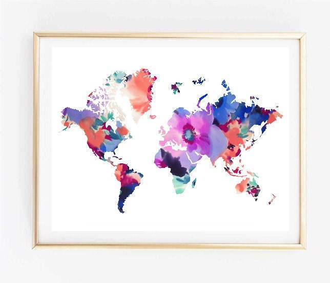 Map art floral world map painting map art print tumblr art zoom gumiabroncs Gallery