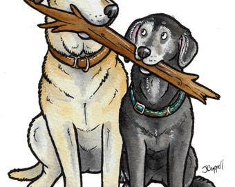 """CUSTOM ink cartoon of your dogs with a stick or toys, with 8x10"""" mount, by Yorkshire artist Jess Chappell"""