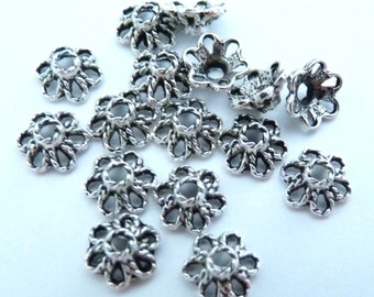 Silver Bead Caps 30 6mm Bead Cap Silver Findings Silver Spacer Metal Beads Filigree Bead Caps Antique Silver Beads