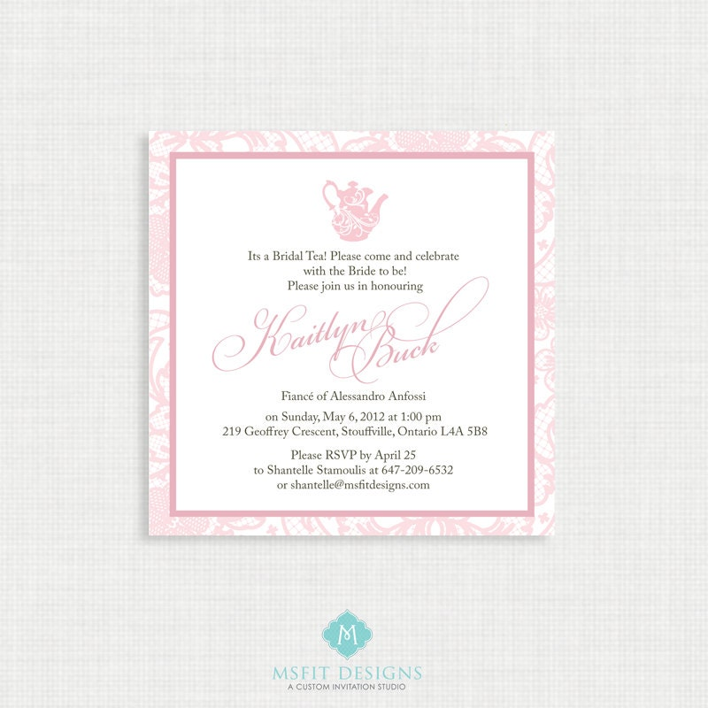 Printable Wedding Shower Invitation  Bridal Shower Tea Party   Lace  Invitation   Printable Bridal Tea Invitation