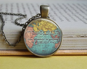 Silver or bronze Dr Seuss 'You're off to great places' map round glass dome pendant necklace (mountains, explore, travel, adventure, quote)