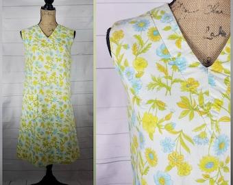 Vintage 1960s Garden Floral Shift Dress; Polyester Day Dress