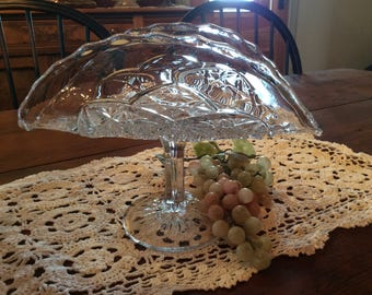 Antique EAPG Banana stand grape footed platter Warly American pressed glass fruit dish