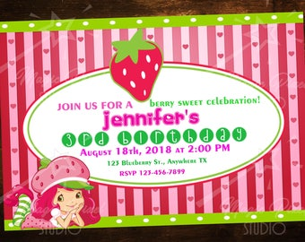 Custom Digital Strawberry Shortcake Birthday Invitations