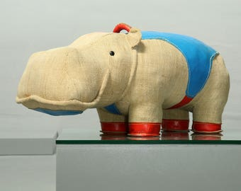 Renate Mueller, VEB Sonni, Therapeutic Toy Hippo Mocky, 1969 Vintage