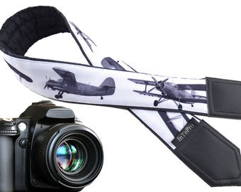 Airplanes camera strap. Grey camera strap. Aircraft. DSLR / SLR Camera Strap. Camera accessories. Soft and durable strap for Nikon, Canon..