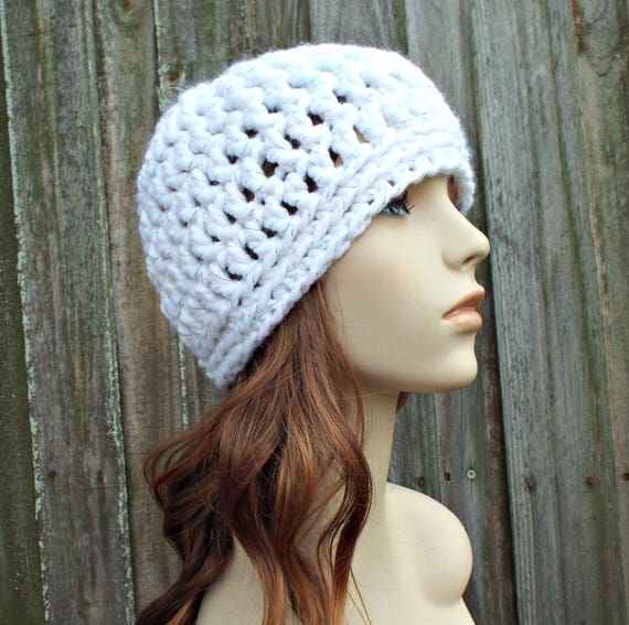 Metallic White Beanie Metallic White Hat - Crochet Womens Hat Mens Hat - Warm Winter Hat - READY TO SHIP