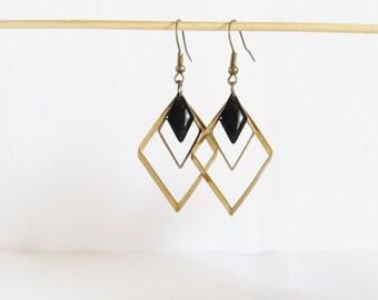 Triple graphic enamel earrings black diamond