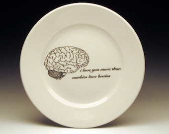 "zombies love brains dessert 7"" plate, halloween dinnerware, horror, goth tableware, valentine gift, zombie love, walking dead"