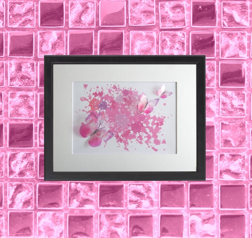 Bedroom picture,Pink Floating butterflies abstract 3d art, frame ...