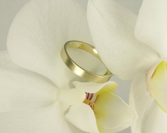 Wedding Ring Gold Brushed, Satin Brushed gold Wedding Band –14 k yellow gold - contemporary jewelry