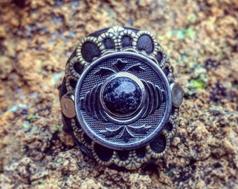 Victorian Era Button Leather Ring