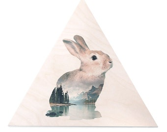 Rabbit Animal Double Exposure Plywood Print - Faunascapes by WhatWeDo