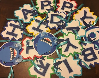 Shark Happy Birthday Banner