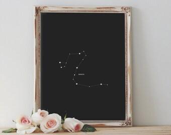 Draco Constellation | Art Printable | Astrology Downloadable Print | Constellation Art Print | Star Home Decor | Night Sky Decor | Draco Art