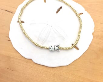 TINY FISH ANKLET two tone anklet matte gold tone beads fish charm beachy anklet beachy jewelry charm ankle bracelet