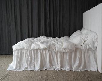 LINEN BEDSKIRT dust ruffle. Linen bed skirt. Handmade by MOOshop.new*5