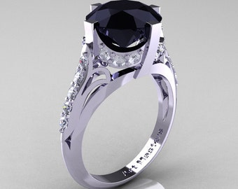 French Vintage 10K White Gold 3.0 CT Black and White Diamond Bridal Solitaire Ring Y306-10KWGDBD