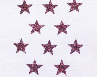 Pattern, fusible, small, Star, fine, badge, patch, Brown glittery 15x15mm