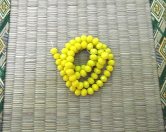 6x8 Pale Yellow Opaque Crystal Beads ******1/2 Strand*******
