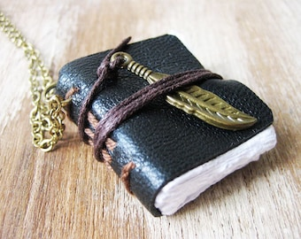 book necklace miniature jewelry mini journal necklace leather journal with feather charm hand stitched journal book pendant charm