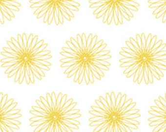 """By The HALF YARD - Moonflower by Denise Urban for Quilting Treasures, #22918 ZS - Spiral Floral White, Modern Graphic Yellow 1.75"""" Daisies"""