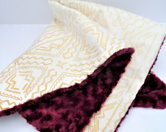 Burgundy and Gold - Large Baby Blanket - Spoonflower Fabric - Burgundy Rosebud Minky - Baby Girl Gift - Security Blanket - Ready to Ship