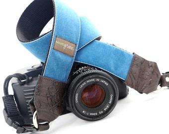 Blue Velvet DSLR Camera Neck Strap with Camera Hand Strap -- 1.5 inches wide Camera Strap -- The 'Diego' Custom Camera Strap