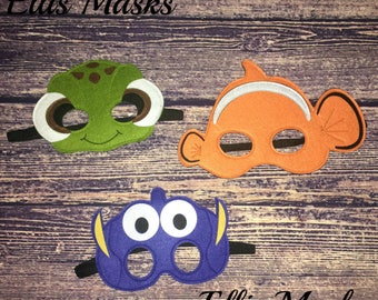 Grand Opening Sale!! Birthday party favor masks, Nemo birthday, Nemo party, Dory birthday, Dory paty, Turtle birthday, Turtle party