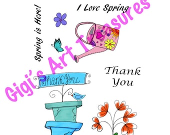 Clear Acrylic Stamps - Gigi's Art Treasures© - Spring is Here