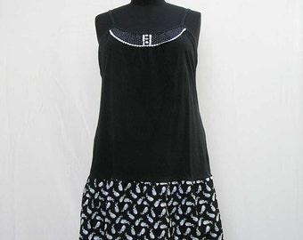 Black slip Dress, plus size dress, white and black dress, black and white dress, bunny rabbit dress, 3x 4x dress, upcycled dress bunny dress