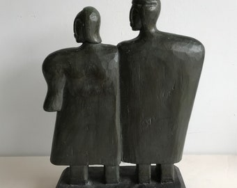 Beautiful Modern Figurative Sculpture of Man and Woman in Wood