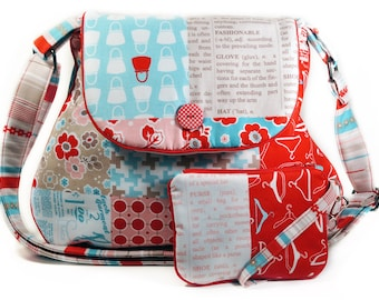 Red Turquoise Hobo Bag Retro Fashion Patchwork Print