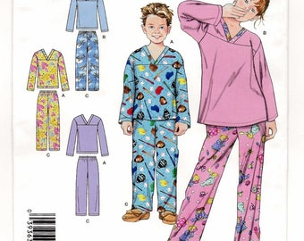 "A Sleepwear Pattern for Boys & Girls: Long Sleeve Top and Elastic Waist Pants - Uncut - Sizes XS-S-M-L, Chest 23"" - 34"" ~ Simplicity 2507"
